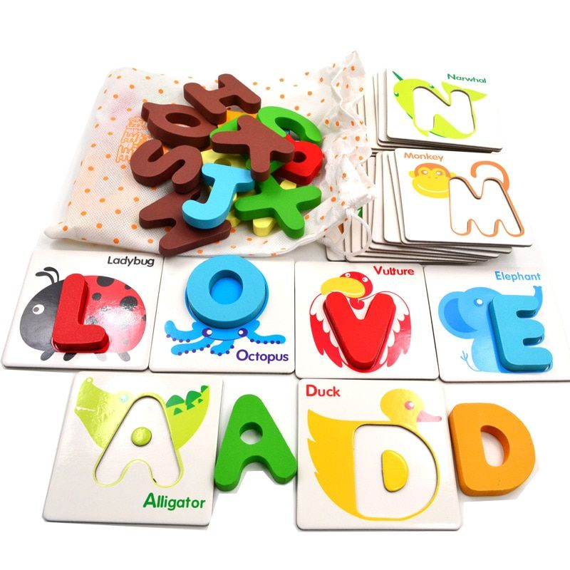BOHS Wooden Early Education Baby Preschool English Learning ABC Alphabet Letter Cards Cognitive Toys Animal Puzzle, 26 pcs