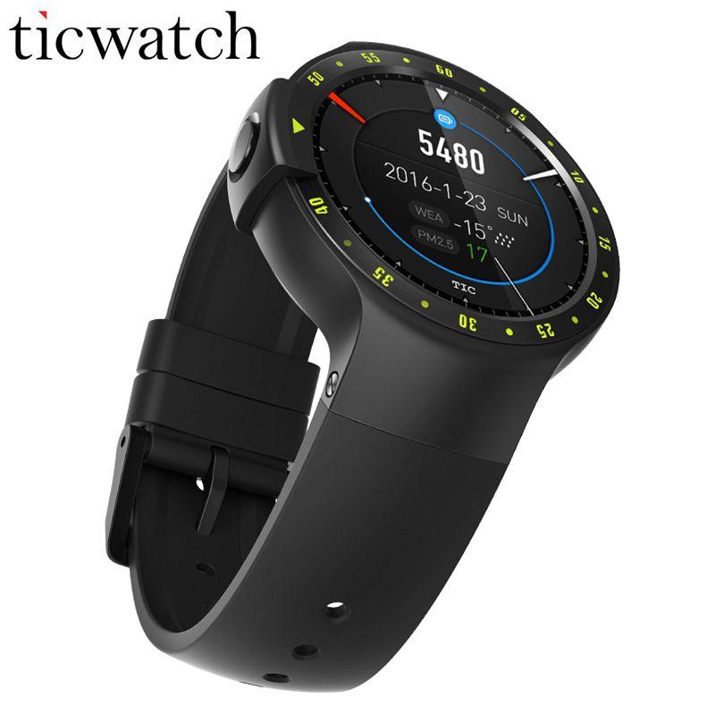Original Ticwatch S Smartwatch + Stahl schutz film Bluetooth 4,1 MTK2601 Android Tragen 2,0 für iOS/Android IP67 Wasserdicht