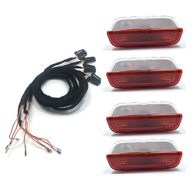 4PCS OEM Origin Door Warning Light interior LAMP LIGHTS+Cable WIRE For Golf Jetta MK5 MK6 Passat B6 B7 CC TIGUAN 3AD 947 411
