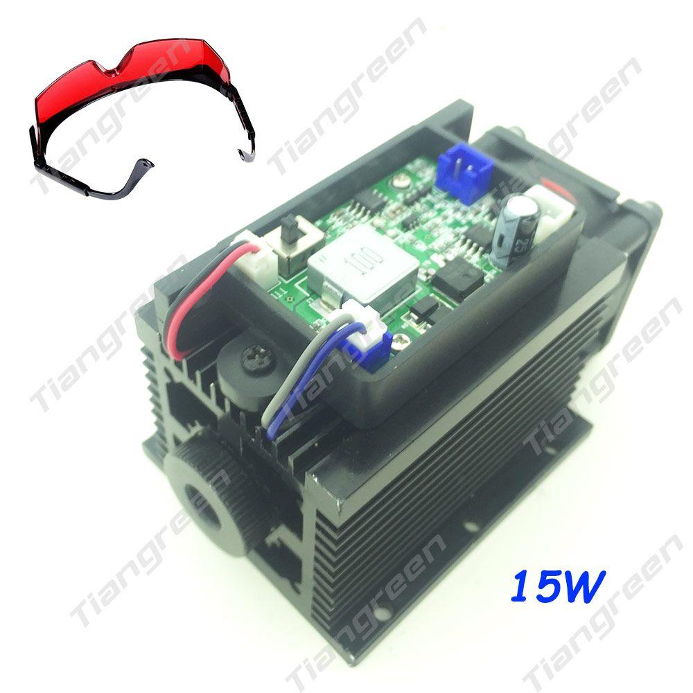 tgleiser 15W High Power Laser Head Module Diode Metal Marking 450nm Blue 15000mW Laser Engraving Machine free glasses