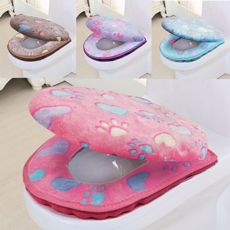 Accessoires de salle de bain hiver couverture de siège de toilette couverture chaude siège de toilette coton Linter voyage Set tapis de bain toilette
