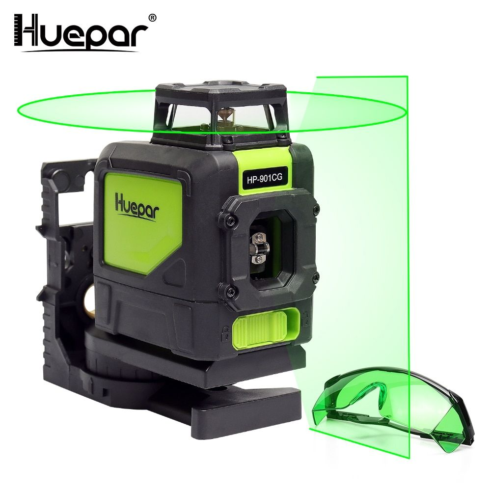 Huepar Laser Level Green Beam Cross Laser Self-leveling 360-Degree with 2 Pluse Modes+Huepar Green Laser Enhancement Glasses