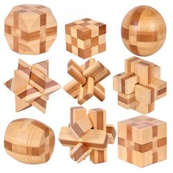 2017 New Design Brain Teaser Kong Ming Lock 3D Wooden Interlocking Burr Puzzles Game Toy For Adults Kids MU881940