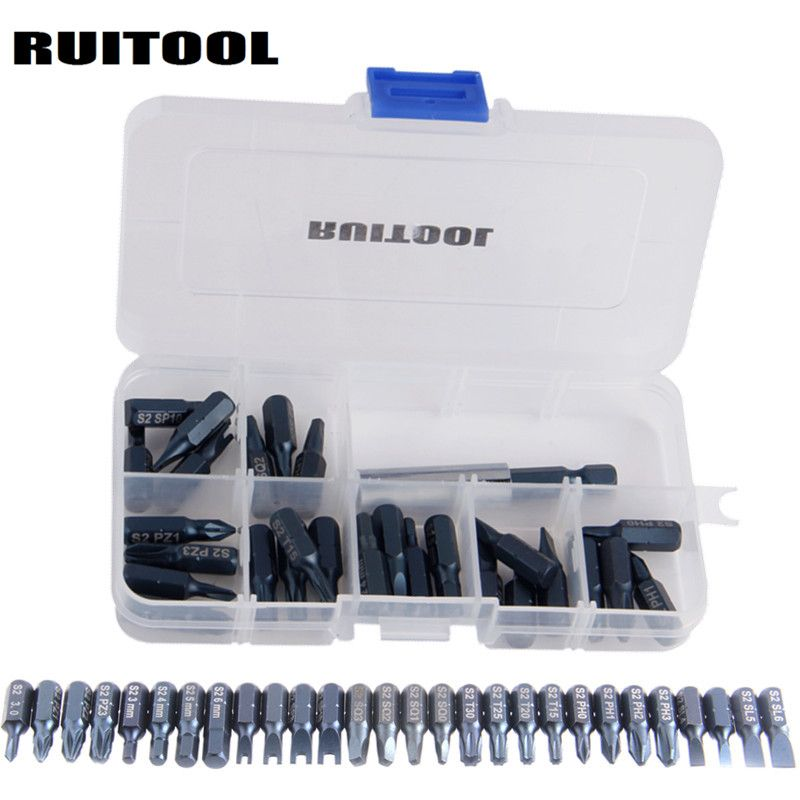 RUITOOL 29pcs Magnetic Bit Set With Tool Box Bit Holder Tips Screwdriver Phillips Hex Torx Screwdriver Bits Tool Kit