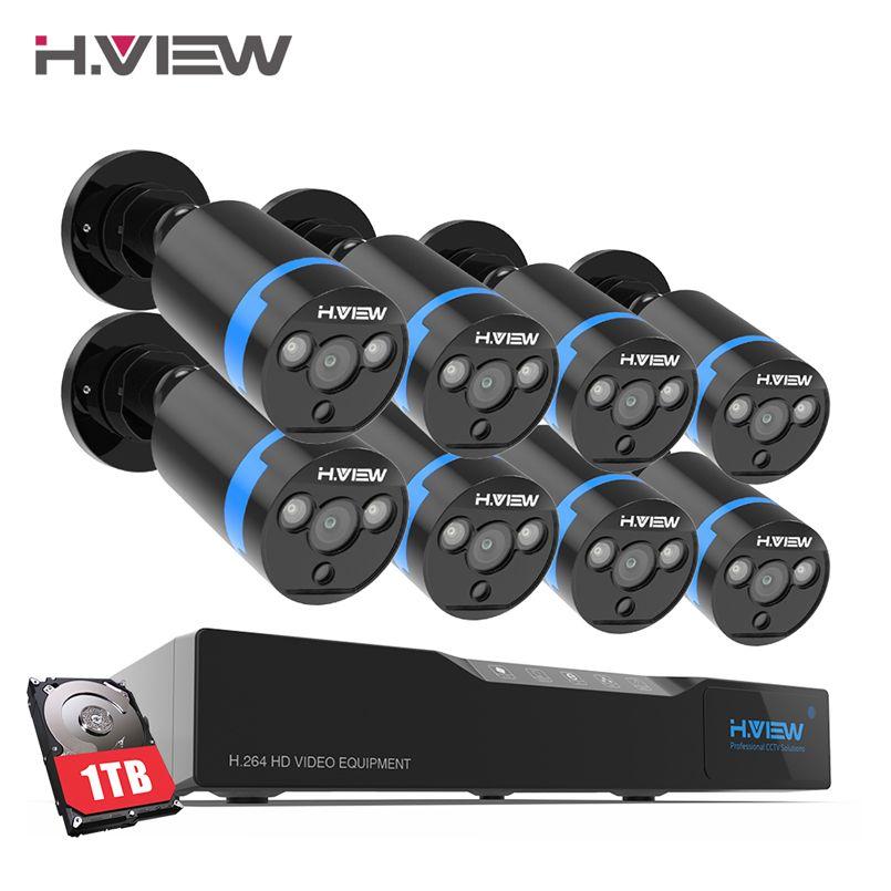H. ansicht 16CH Überwachung System 8 1080 p Outdoor Sicherheit Kamera 16CH CCTV DVR 1 tb HDD Kit Video Überwachung Einfach remote View