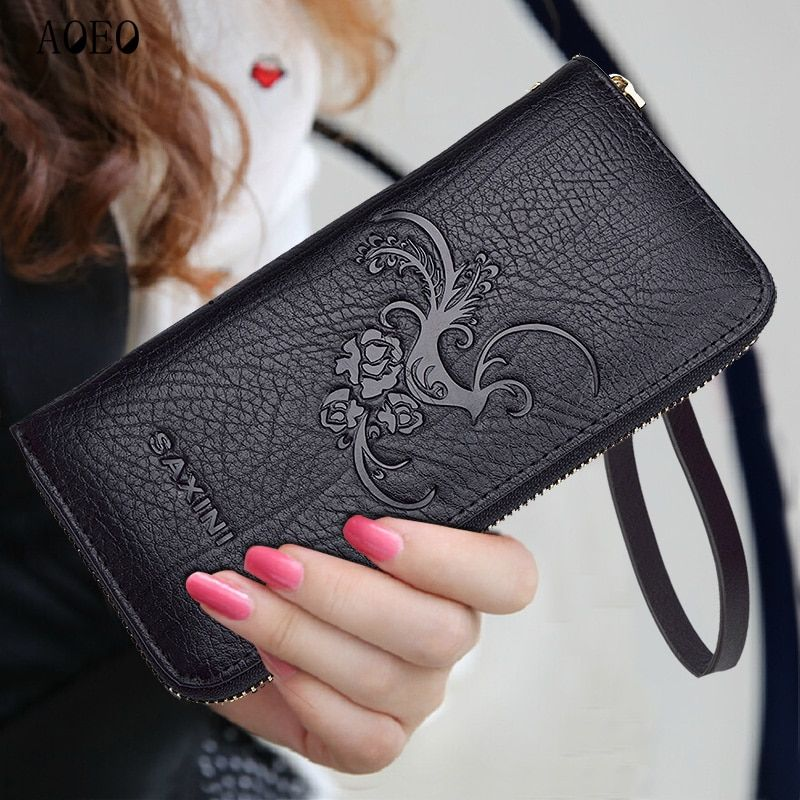Lee Princess Ladies Wallet Women Split Leather Purse For Girls With Coin Bag Wristlet 3D Embossed Leaves Slim Wallets Female
