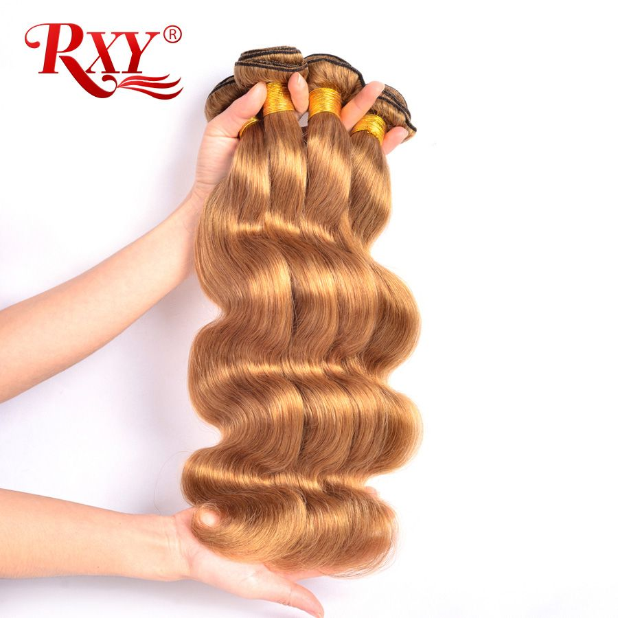 RXY Miel Blonde Brésilienne Cheveux Weave Bundles Vague de Corps 1/3/4 pcs #27 Couleur 100% Humains faisceaux de cheveux NonRemy Cheveux Tisse Extension