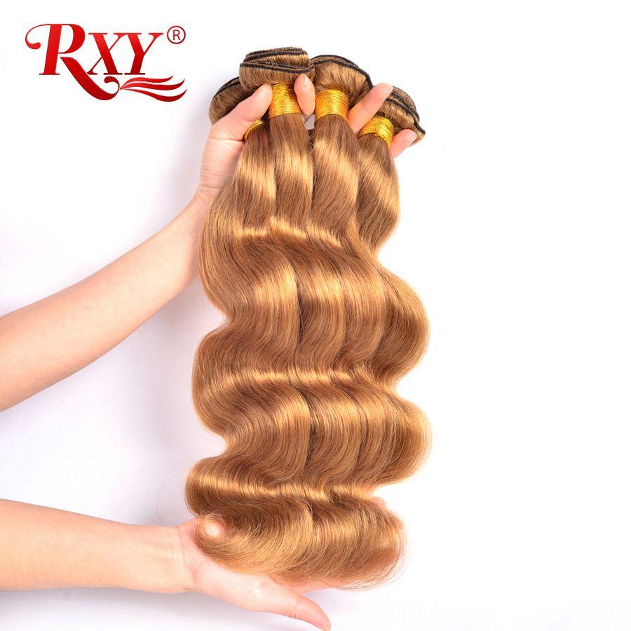 RXY miel Blonde brésilienne cheveux armure paquets vague de corps 1/3/4 pièces #27 couleur 100% cheveux humains paquets non remy cheveux tisse Extension