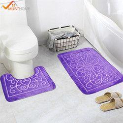 2 шт. 3D узор коврики для ванной и туалет комплект Нескользящие ванная комната коврики/ковры