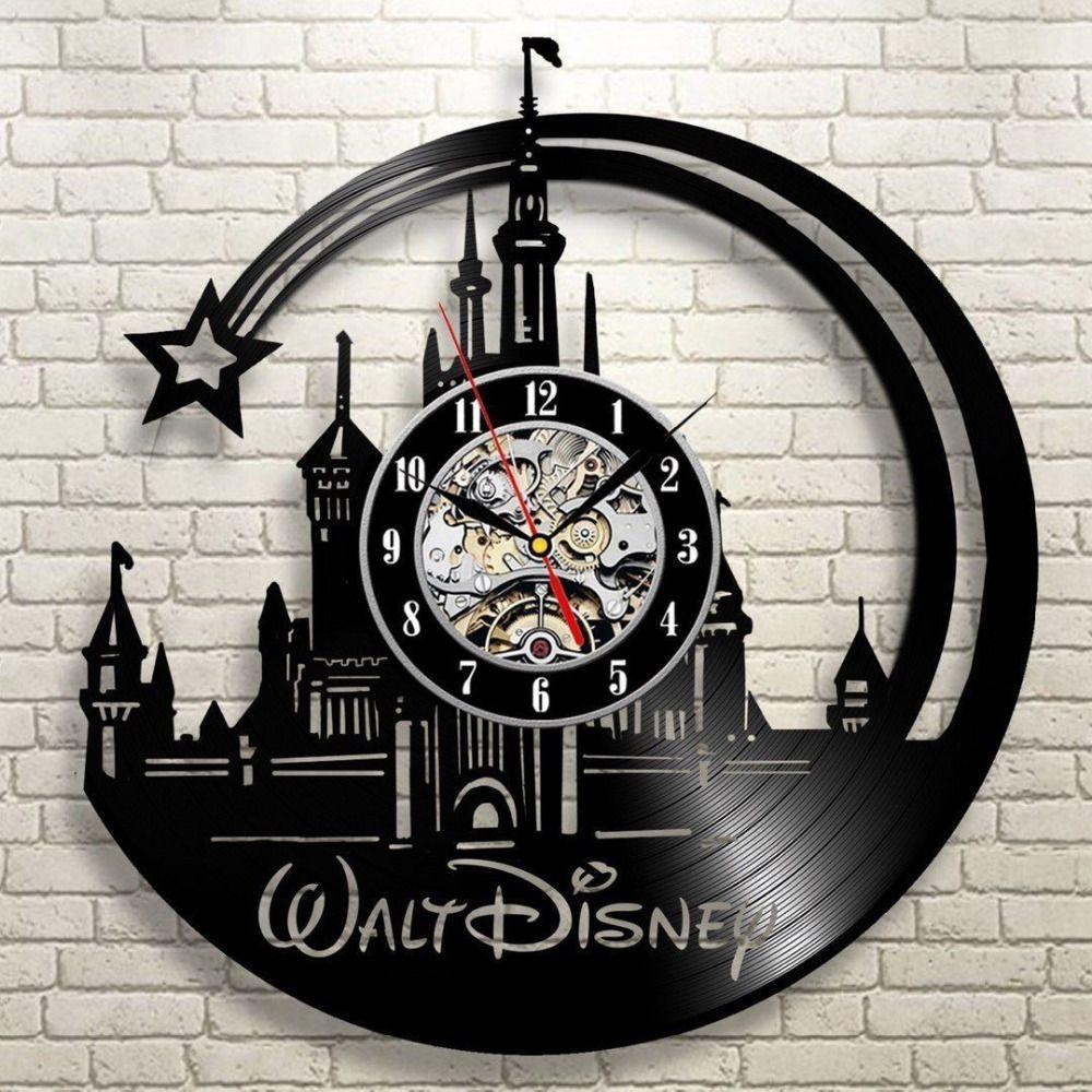 CD Vinyl Record Wall Clock Modern Cartoon Design Black Wall Watch Home Decor Clock Relogio Parede for Children Gift