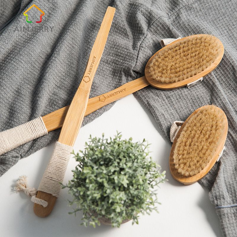 Aimjerry Bathroom Natural Bristle Cleaning Removable Long Handle Wooden Maasage <font><b>Health</b></font> Care Bath Body Brush for bath