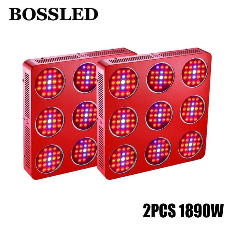 2PCS BOSSLED GoldenRing S9 1890W LED Grow Light Modular Design with Penetration Lens For Flower Plants Vegetative Growing