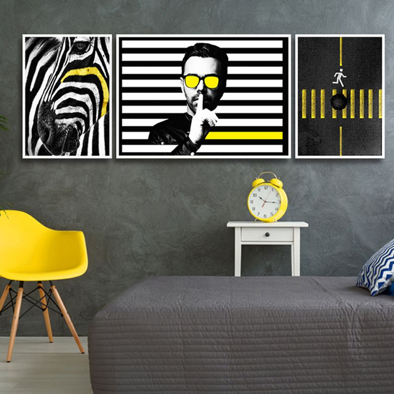 Nordic Pop Art Black and White Man Yellow Line Sidewalk Canvas Painting Horse Poster Wall Picture Home Living Room Decoration