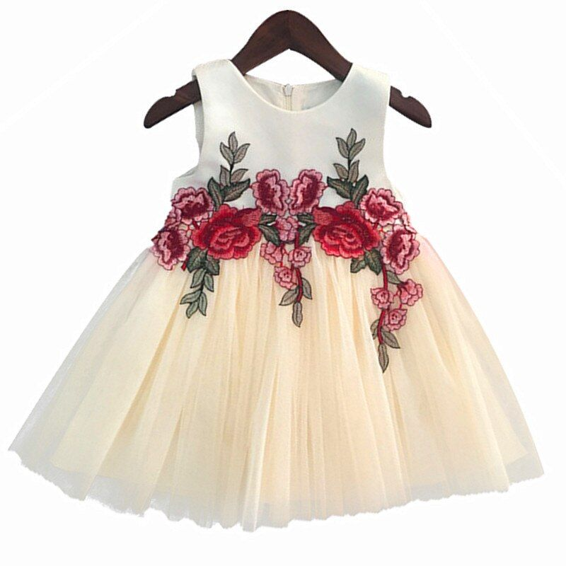 Embroidery Lace Flower Girl Dresses Appliques Kids Prom Wedding Dress Ball Gown Pearls Girl Pageant Dress Vestidos de comunion