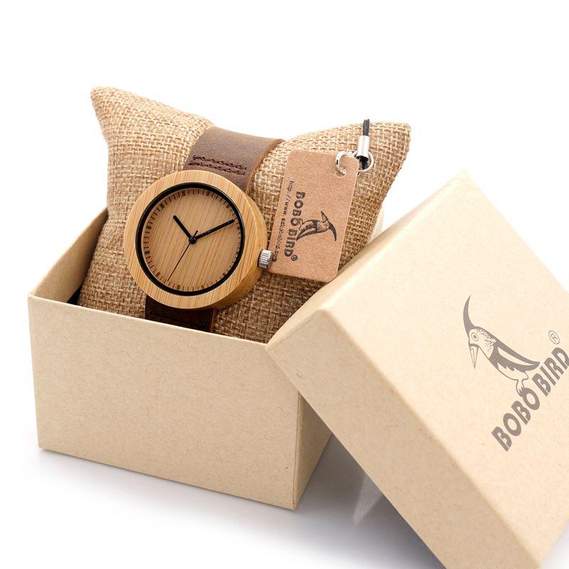 BOBO BIRD Women's Bamboo Watches Leather Strap Female Wristwatch Female Clock Ladies Quartz-watch for Women as Gifts Items