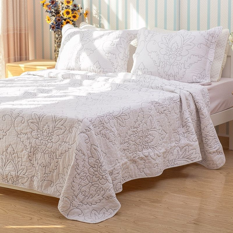 CHAUSUB Quality White Coverlet SET 3PCS 100% Cotton Quilt Embroidery Quilted Bedspread Bed Cover Bed Sheets Shams King Size