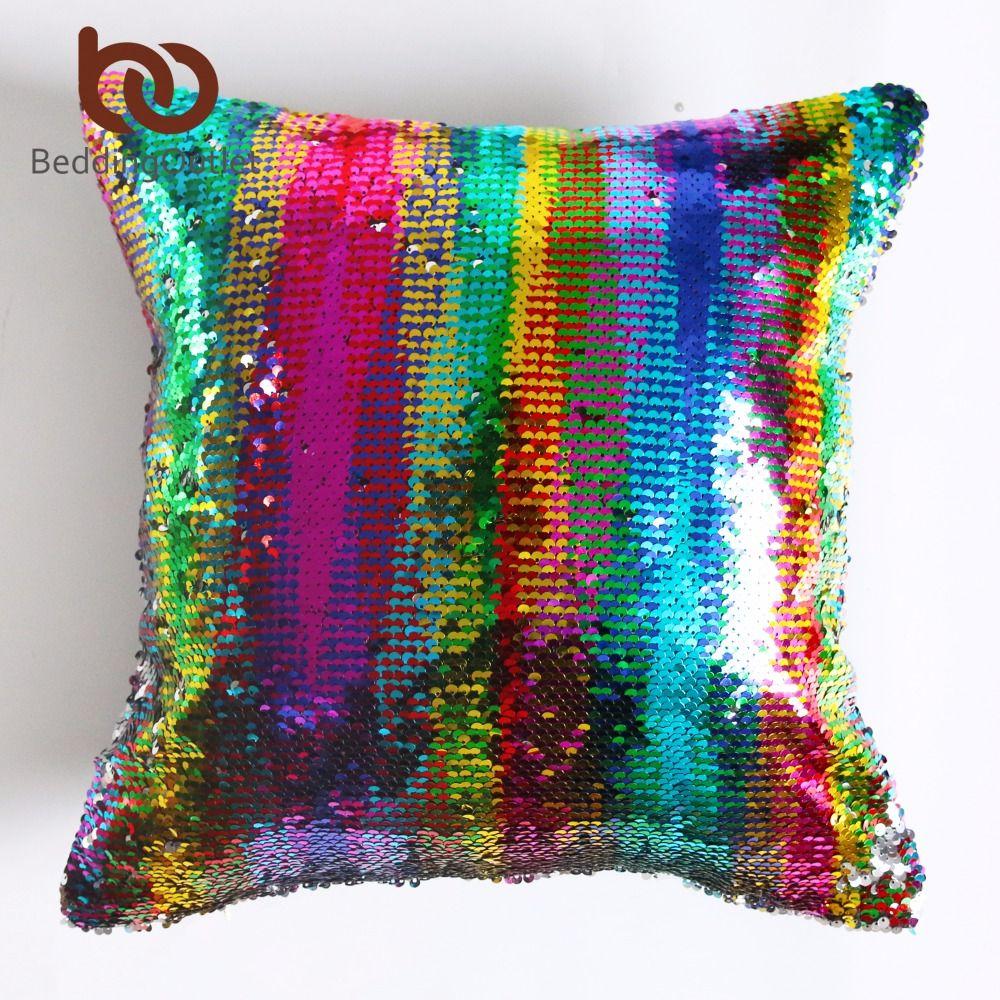 BeddingOutlet DIY Mermaid Sequin Cushion Cover Magical Pink Throw Pillowcase 40cmX40cm Color Changing Reversible Pillow Case