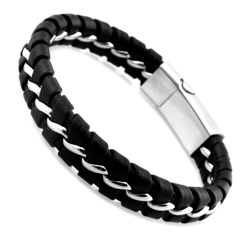 HOT Unique Designer 316L Stainless Steel Bracelets & Bangles Mens Gift Black Leather Knitted Magnetic Clasp Bracelet Men Jewelry