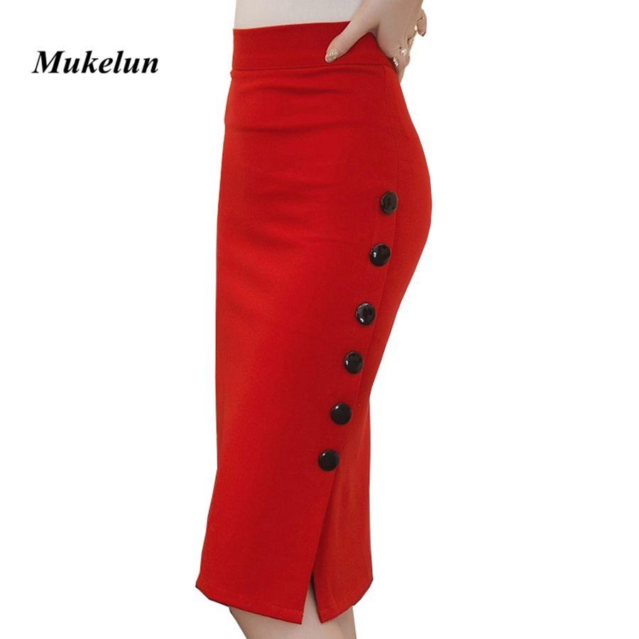 Grande taille 2019 mode femmes travail Midi jupe OL Sexy ouvert fente bouton Slim jupe crayon élégant bureau dames jupes rouge noir