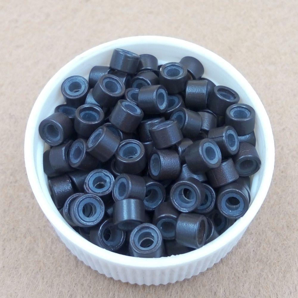 1000 unids/pack 4.5mm silicona forrada Micro Enlaces Anillos Perlas de plumas de extensión del pelo herramientas