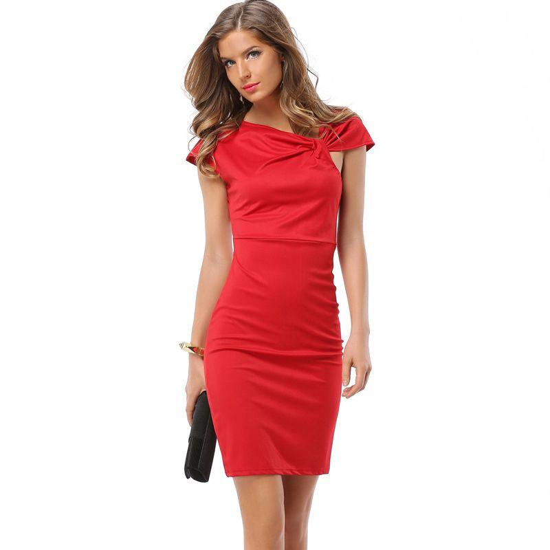 Платья с бантом на плече бабочка однотонное красное по колено летнее платье сарафан большой размер XXXL офис туника для выпускной вечер элега...