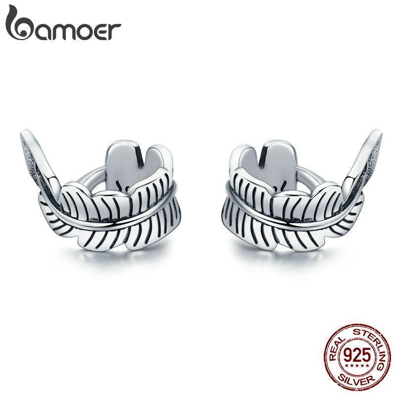 BAMOER Hohe Qualität 100% 925 Sterling Silber Vintage Baum Blätter Ohren Clip für Frauen Vintage Sterling Silber Schmuck Geschenk SCE405