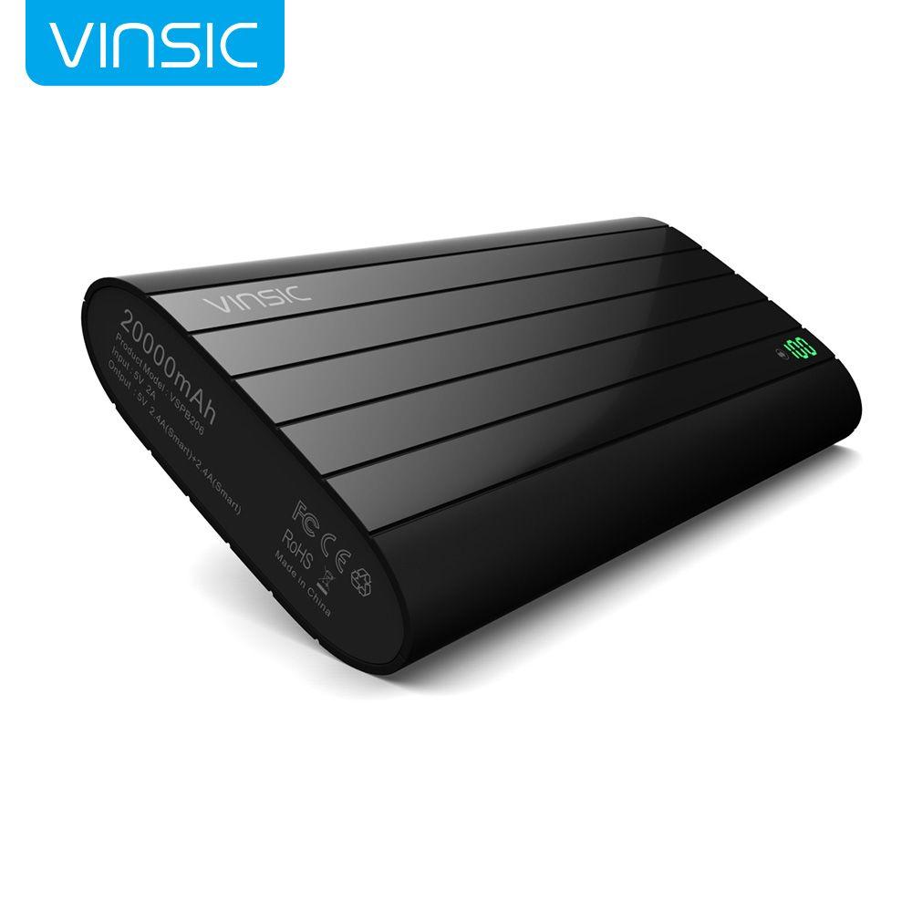 D'origine vinsic puissance banque 20000 mah batterie externe portable mobile power banque chargeur pour téléphones android iphone ipad