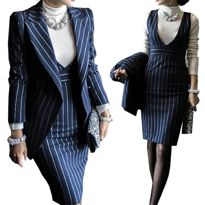 Professional wear women's dress skirt 2018 spring temperament Slim striped vest skirt lapel small suit long-sleeved jacket BSQ08