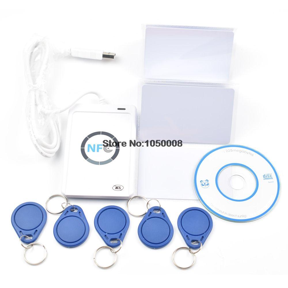 USB ACR122U-A9 NFC Reader Writer duplicator RFID Smart Card + 5pcs UID changeable Cards + 5pcs UID keyfob +1 SDK CD