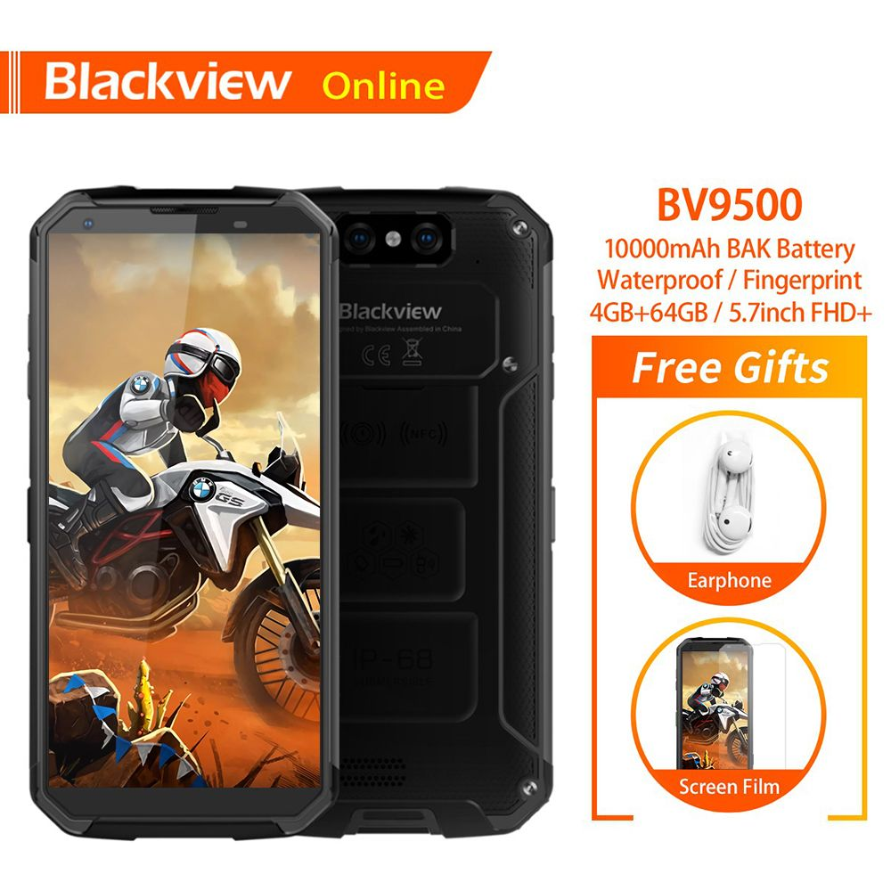Blackview BV9500 Original IP68 Wasserdichte Robuste Handy 10000 mAh 4 GB + 64 GB Android 8.1 FHD Fingerprint Entsperren 4G Smartphone