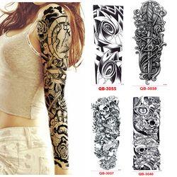 3Pcs Temporary Tattoo Sleeve Waterproof Tattoos for Men Women Transfer Stickers Flash Tattoos Metallic Stickers for Body Art