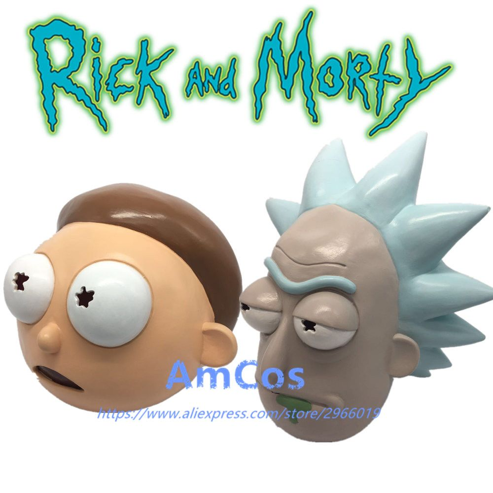 Anime Rick and Morty Mask Cosplay <font><b>Helmet</b></font> Cute Full Face Head Latex Hood Masks Masquerade Halloween For Women/Men Party Props