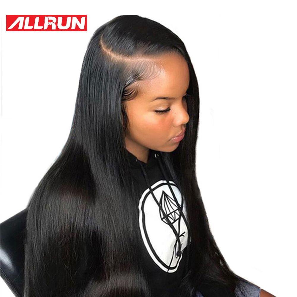 ALLRUN Peruvian Straight Human Hair Wigs non-remy 360 Lace Frontal Wig 8-20 Inches Lace Front Wigs Natural Color Free Shipping