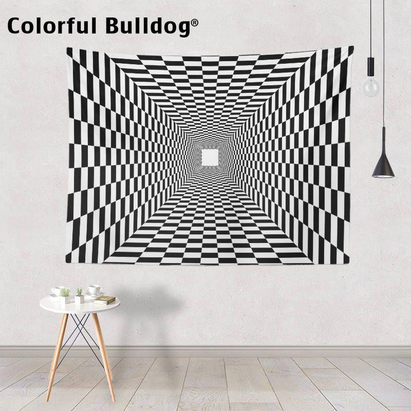 Psychédélique Trippy tapisserie abstraite géométrique noir et blanc tapisseries Chevron aztèque tenture murale Hippie marocain couvre-lits
