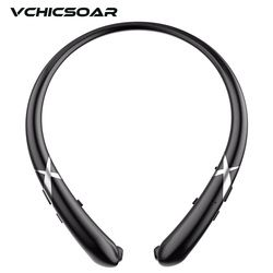 Vchicsoar HW911 Sports Bluetooth Headphones V4.1 Wireless Retractable Headset Stereo Bass Neckband Earphones with Mic for iPhone