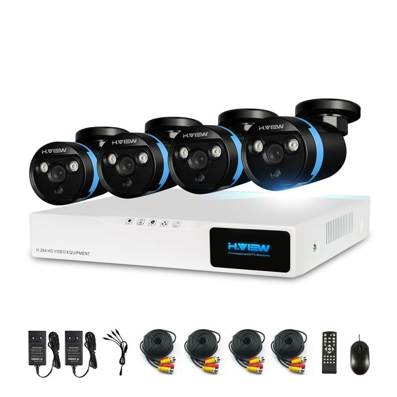 H.View Security Camera System 4ch CCTV System DVR DIY Kit 4 x 1080P Security Camera 2.0mp Camera Surveillance System