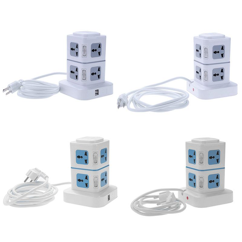 1.8M 3M EU US Plug Wired Charger Extension Lead Socket with Dual USB Port for Home Office Use Color Random