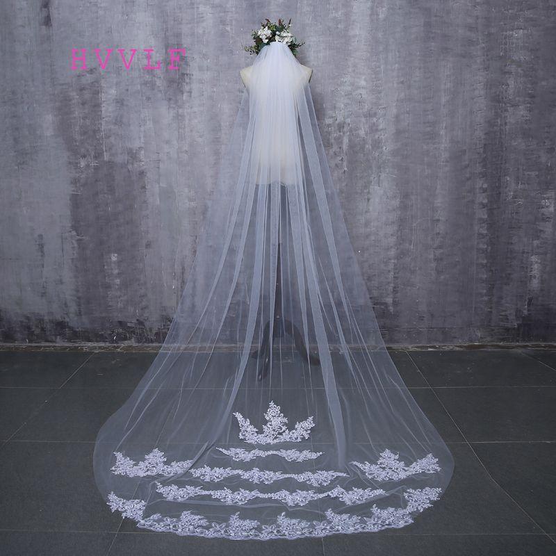 2017 Bride Veils White Applique Tulle 3 meters veu de noiva long wedding veils bridal accessories lace bridal veil