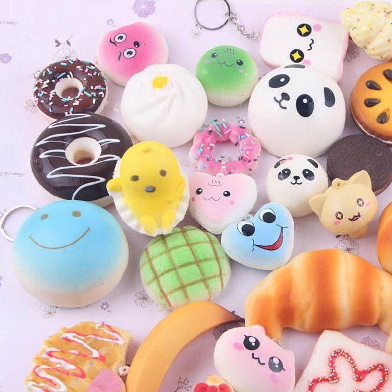 10pcs Cute Mini Soft Random Squishy Phone Straps Slow Rising Jumbo Squeeze Cake Macaron Dessert Bread Panda Kids Gift