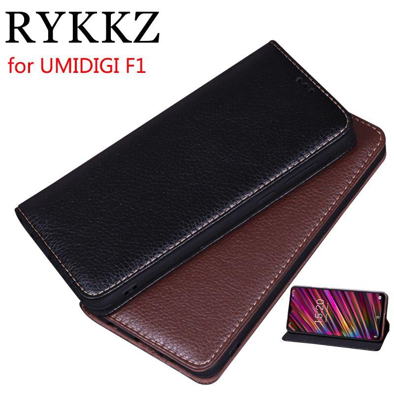 RYKKZ Luxury Leather Flip Cover For UMIDIGI F1 6.3'' Mobile Stand Case For UMIDIGI F1 Leather Phone Case Cover