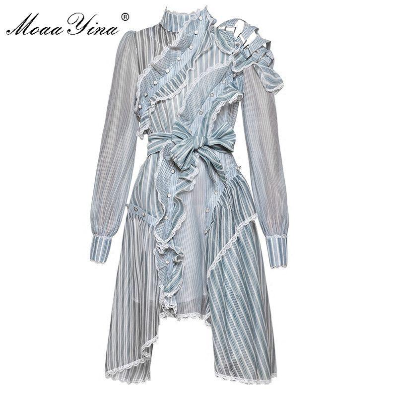 MoaaYina Designer Runway Dress Spring Women Long sleeve Off shoulder Stand collar stripe Asymmetrical Ruffles Lace Sashes Dress