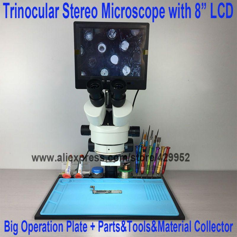 7X ~ 45X Trinokular Stereo Zoom Vertikale Zoom Mikroskop für iPhone Fix Repair Tools Kits + 8 Zoll LCD + große Betrieb Platte