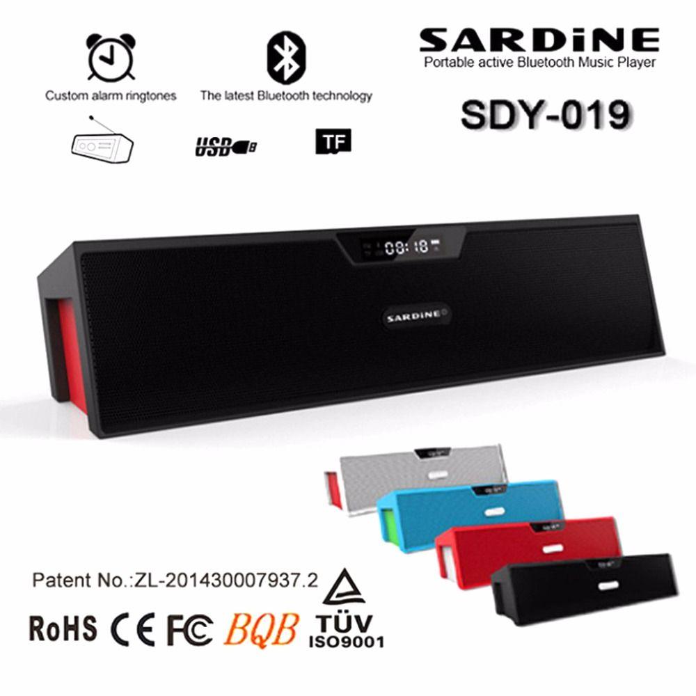 Сардины sdy-019 Портативный Беспроводной Bluetooth Колонки с будильником ЖК-дисплей время Дисплей большой мощности 10 Вт выход HiFi Поддержка