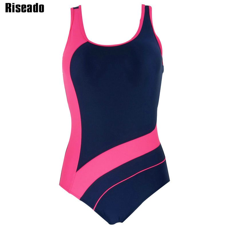 Riseado <font><b>2018</b></font> One Piece Swimsuit Swimwear Women Sports Backless Bodysuits Women's Swimsuits Splice Bathing Suits