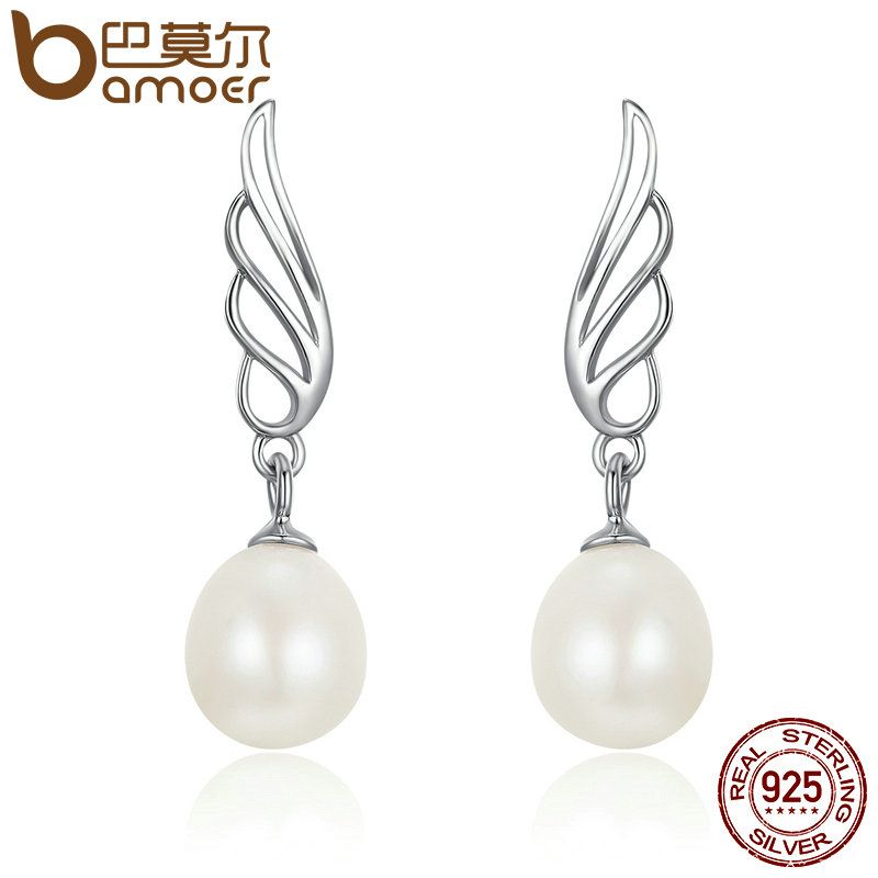 BAMOER Clear CZ Feather Drop Earrings with Pearl for Women 925 Sterling Silver Jewelry SCE119