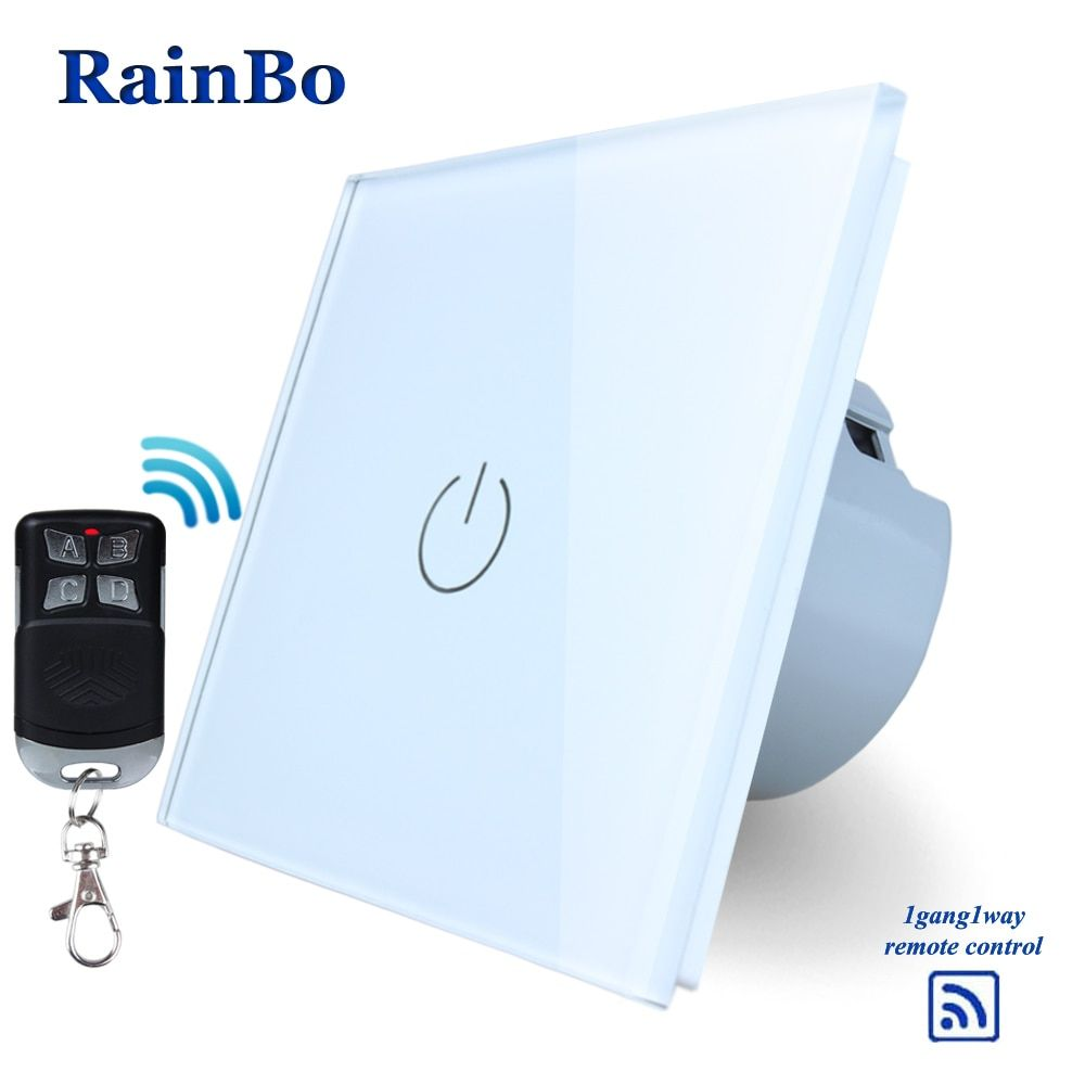 RainBo Crystal Glass Panel Switch Wall Switch EU Touch Switch Screen Wall Light Switch 1gang1way 110~250V LED lamp A1913W/BR01
