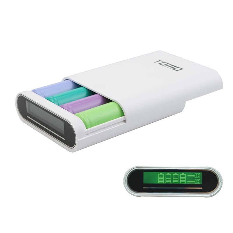 TOMO M4 18650 3.7 V Li ion chargeur de batterie boîtier de batterie externe Charge pour 18650 Batteries double USB 5V2A noir (pas de batterie)