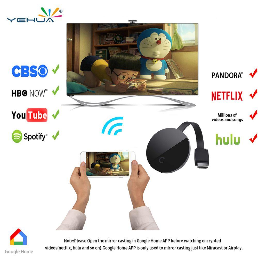 Yehua G5 Chromecast Wifi Display Dongle Receiver Full 1080p HDMI Miracast Chrom cast DLNA AirPlay for Google Chromecast