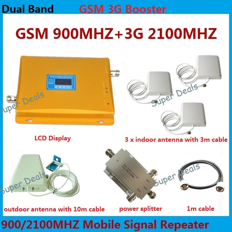 3 pcs indoor antenna , Dual band 900mhz / 2100mhz 2g gsm repeater cell phone mobile signal repeater amplifier 3g booster
