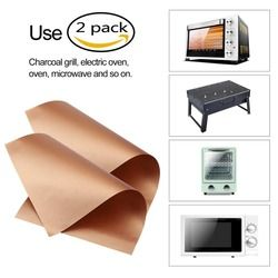 2 Pcs/Pack Kitchen Copper Chef Grill and Bake Mats Outdoor BBQ Tools Barbecue Roast Sheet Drop Shipping 40*33cm/34*23.5cm